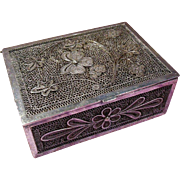 Arts and Crafts Silver Metal Filigree Trinket Box Designed with Pansy and Flower