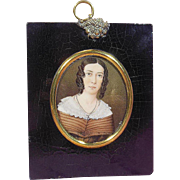 Hand Painted Portrait Miniature of a Victorian Era (1837-1901) Aristocratic Lady
