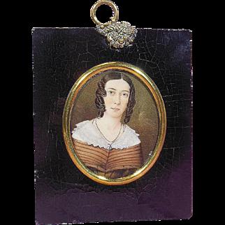 Hand Painted Portrait Miniature of a Victorian Era (1837-1901) Aristocratic Lady