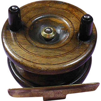 Antique English Wood and Brass Fishing Reel