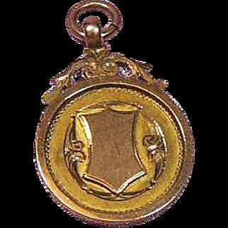 9 Carat Gold English Watch Trophy Fob/Pendant/Charm 1929-30