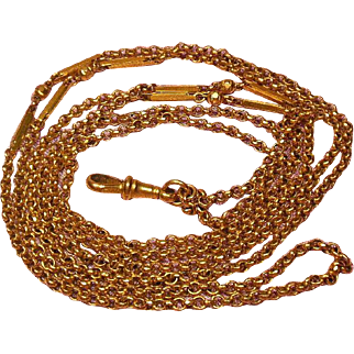 """Arts and Crafts English G/F Long Guard Chain 54"""" Circa 1880-1920"""