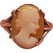Arts and Crafts Carved Lady Shell Cameo Ring 9 Carat Gold