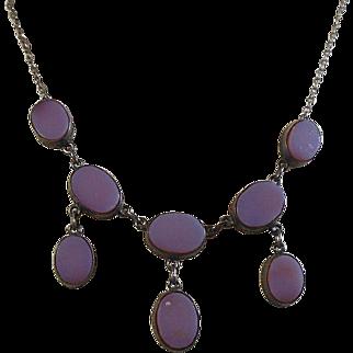 Arts and Crafts Silver(800-900/1000) Sardonyx Fringe Necklace