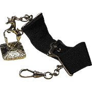 9 Carat Gold Unicorn and Shield Fob Set with Cornelian, Circa 1910, on a Black Ribbon Fob Strap with G/F Swivel Clasp