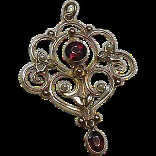 Edwardian 9 Carat Gold Garnet and Seed Pearl Lavalier Pendant
