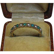 Antique Victorian 9 Carat Gold, Turquoise Stone and Seed Pearl Eternity Ring- Size 8.5