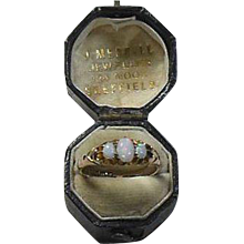 Antique English Opal and 9 Carat Gold Dress Ring, Hallmarked 1905