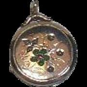 Vintage 9 Carat Gold Locket, Gem Set Flower Design- Seed Pearl