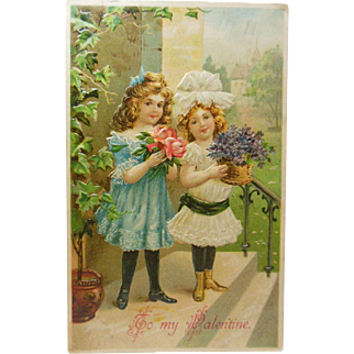 To My Valentine Post Card Date Stamped Feb. 14, 1908-2 Young Ladies Bringing Flowers