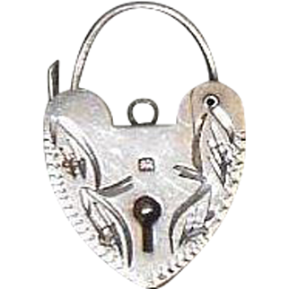 English Etched Sterling Silver(.925/1000) Padlock Charm/Pendant- Hallmarked