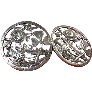 Antique Sterling Silver Buttons, English Hallmarked 1900 Rose-Shamrock and Thistle Modeled