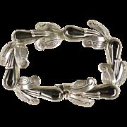Vintage '40s Pichardo Mexico 925 Obsidian Cornhusk Bracelet