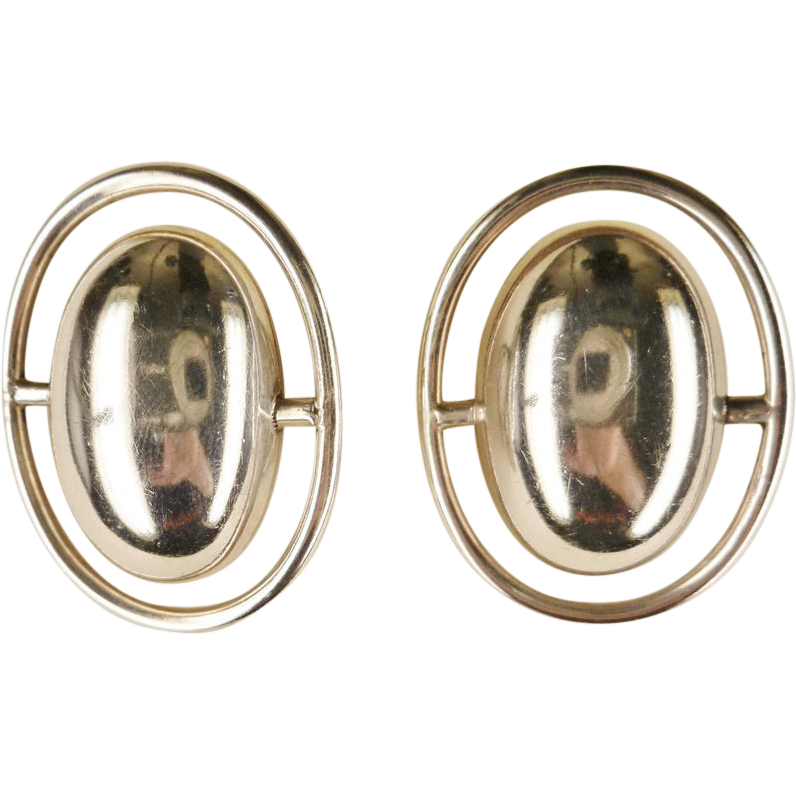 Vintage Large Modernist Design Sterling Taxco Earrings