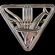 Vintage Georg Jensen Denmark Dolphin Cattail #257 Sterling Silver Pin