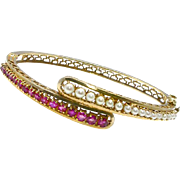 Antique Circa 1910 14k Ruby & Pearl Bypass Bangle