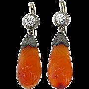 Early Victorian 14k Silver 1.00 ct Diamond Carved Carnelian Earrings