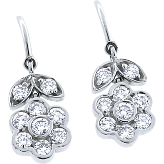 Vintage Tiffany & Co Platinum 1.45 ct Diamond Floral Earrings
