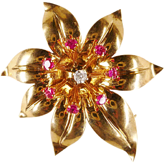 Vintage Retro Circa 1940 Ruby Diamond Flower Pin