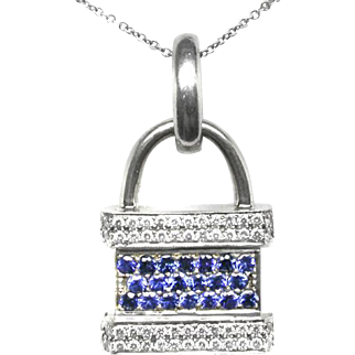Vintage, circa 1970, 14k Sapphire Diamond 3D Padlock Pendant