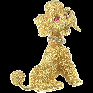 Vintage 1950 14k Poodle Ruby Pearl Dog Pin