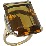 Retro 1940s 14k Citrine 25.00ct Diamond 0.70ct Ring