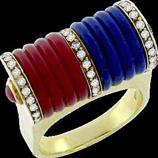 Vintage 18k Coral & Lapis 0.80ct. Diamond Ring Circa 1960