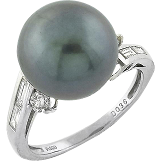 Estate Platinum 12mm Black Tahitian Pearl Diamond Ring