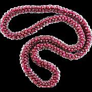 "Vintage Woven Rhodolite Garnet Bead Necklace 24"""