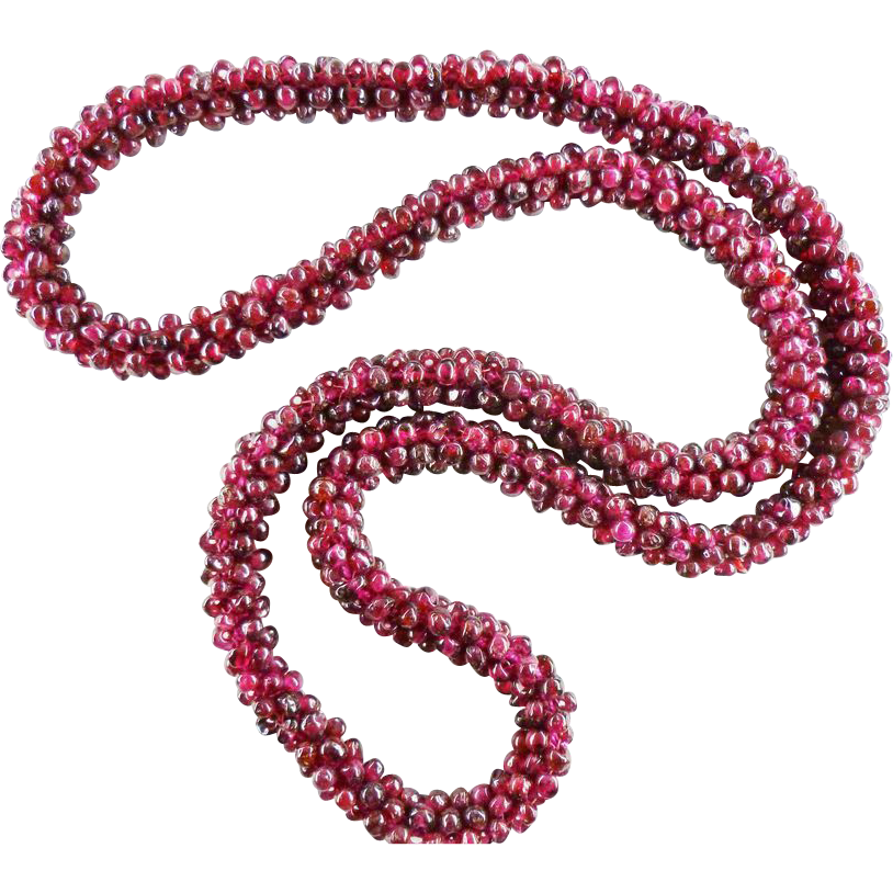vintage woven rhodolite garnet bead necklace 24 quot from
