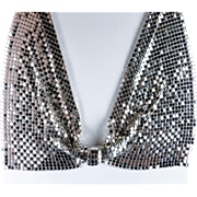 Deco Style Silver Tone Mesh Bow Tie Bib Necklace