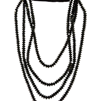 Art Deco 14k French Jet 4 Strand Necklace