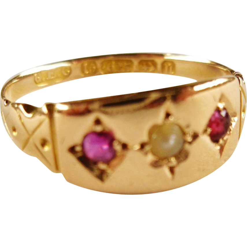antique 15k gold ruby pearl ring from
