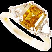 Estate Golden Brown Zircon 2.20ct 18k 14k Diamond Trillion 0.75ct tw Ring