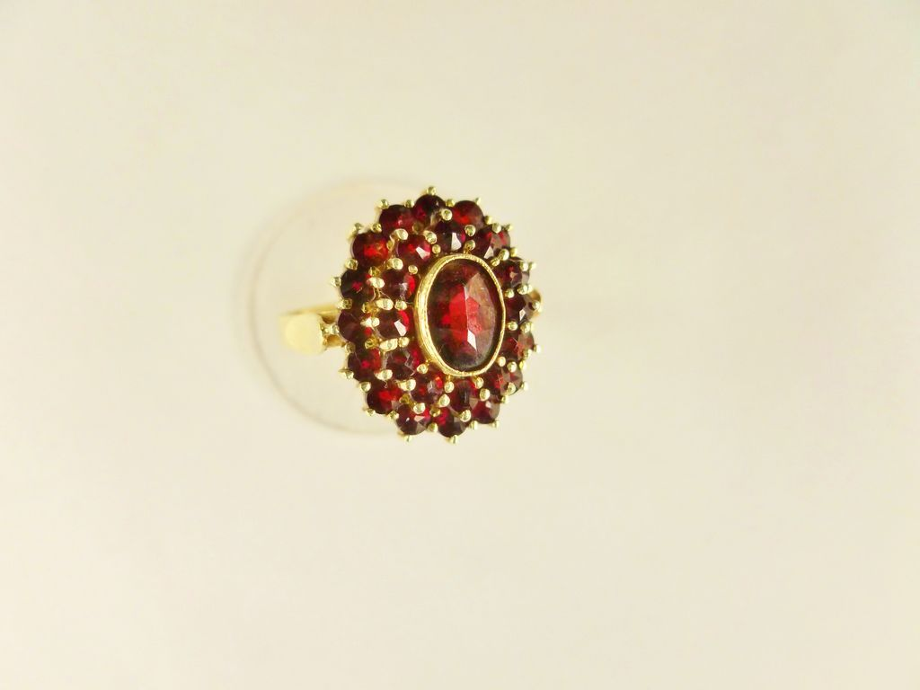 Antique Victorian14k Gold Bohemian Garnet Cluster Ring