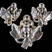 Vintage 1930s Mexico Sterling Grape & Vine Pierced Earring/ Pin Set