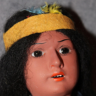 Antique 11 Inch Bisque Native American Doll