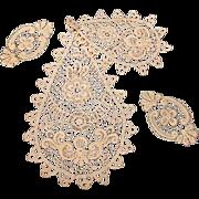 Lot of Antique Lace Appliqués and Jabot