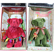 Vintage Pair of Boxed Gund Christmas Bears