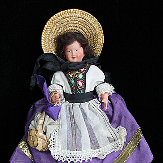 """Vintage All Original 6 1/2"""" French Celluloid Doll"""