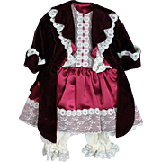 Pretty Velvet Jacket and Satin Dress with Underwear for Doll
