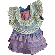 Vintage Ruffled Taffeta and Lace Dress for Cabinet Sized Doll