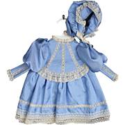 Blue Silk and Lace Doll Dress with Bonnet and Underwear