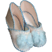 Beautiful Pink and Blue Silk Doll Shoes