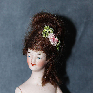 Beautiful 3 inch Jointed Bisque Half Doll