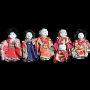 Collection of Five Vintage All Original Oriental Dolls