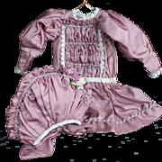 Pretty Mauve Silk Dress and Bonnet