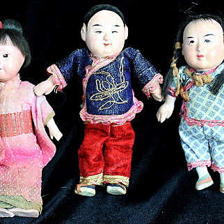 A Trio of Darling Vintage Oriental Dolls