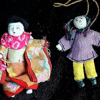 Four Vintage Dollhouse Size Oriental Dolls