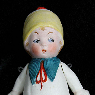 """Cute 3 3/4"""" All Bisque Boy with Molded Clothes"""